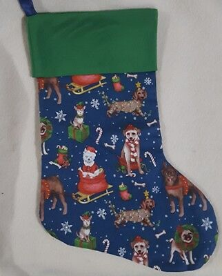 Dog in Sled Christmas Stocking - Fully lined Handmade