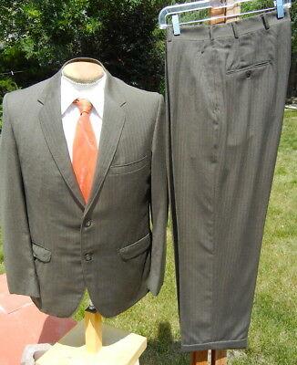 Vintage 1960s MOD Flannel Suit 40S 32x27 - Olive & Golden Brown - Skinny Lapels