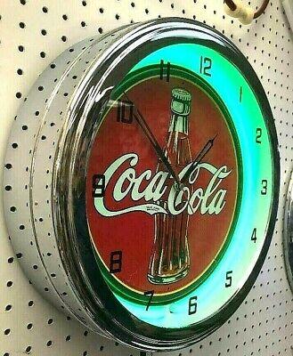 "16"" Drink Coca-Cola 30s Bottle Logo Coke Sign Green Neon Clock"