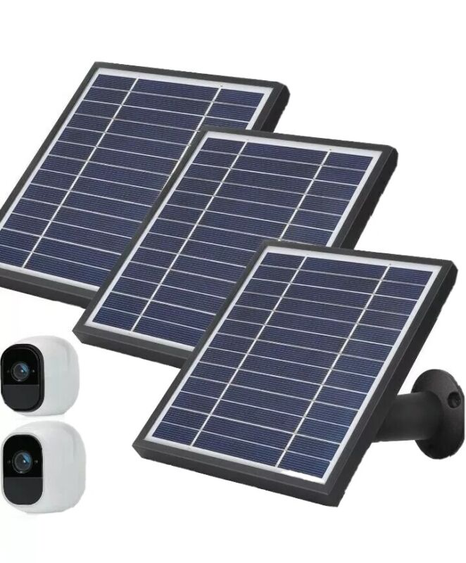 iTODOS 3 Pack Solar Panel Works for Arlo Pro 2 Switch Control 11.8Ft (black)