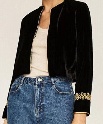 Zara Balck Velvet & Gold Blazer Jacket XS / S