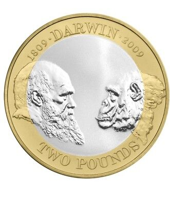 £2 coin Charles Darwin 2009