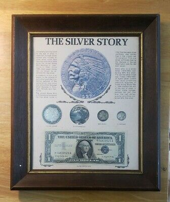 THE SILVER STORY SILVER COIN & CURRENCY SET FRAMED 8 X 10 1891 Morgan Dollar