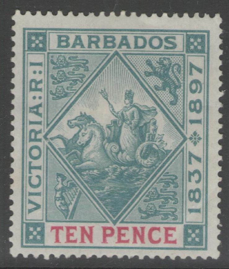 BARBADOS SG123 1897 10d BLUE-GREEN & CARMINE MTD MINT