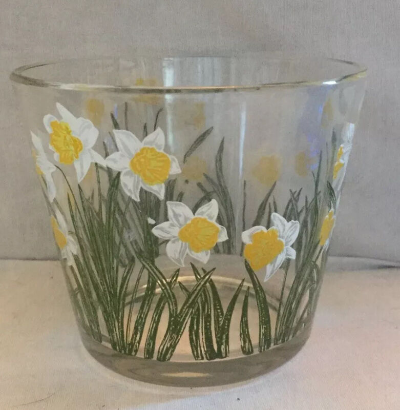 """Vintage Cora Daffodil Painted Glass Bowl Excellent 4.75"""" X 5.5"""" Signed"""
