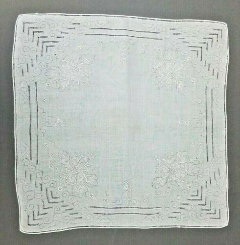 "Exquisite Antique Vintage Hanky Hand Embroidered Wedding Handkerchief 12"" NOS #2"