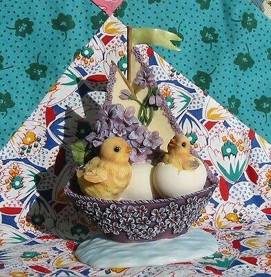 Vintage Style Easter Chicks in Violet Sailboat