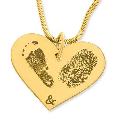 Baby Fußabdrücke Halskette Geschenk mit Fuß Abdruck Kette mit 2 Abdrücken gold