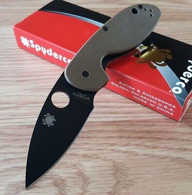 "Spyderco Efficient Folding Knife 3"" 8Cr13MoV Steel Leaf Shaped Blade G10 Handle"