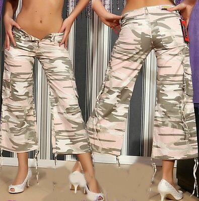 Cool Women's Girly Camouflage Camo Army Cargo Hipster Capri W24 W 26 W28 W31 W32](Combat Boots Girly)