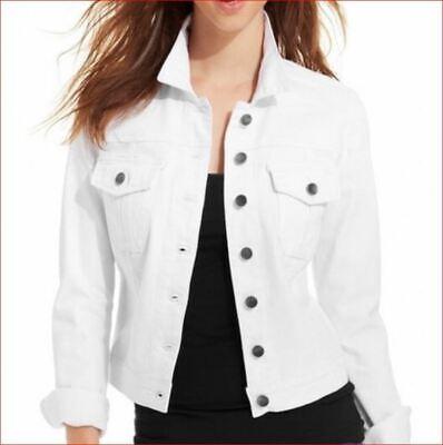 new CALVIN KLEIN women jean jacket CD0D2U93 white sz XL $129