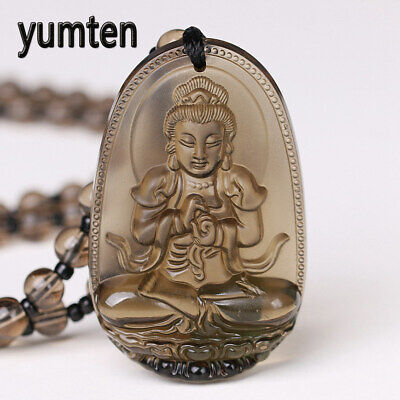 Yumten Smoky Quartz Necklace Stone Pendant Buddha Lucky Crystal Women Jewelry - Green Smoky Quartz Pendant