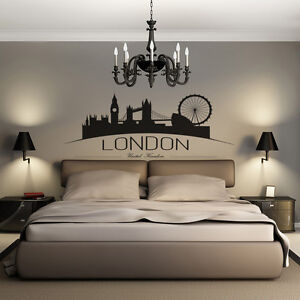 London Britain United Kingdom UK City Skyline Silhouette Wall Art Decal Sticker