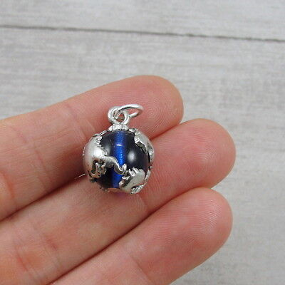 Silver and Sapphire Blue EARTH GLOBE World Map CHARM PENDANT ()