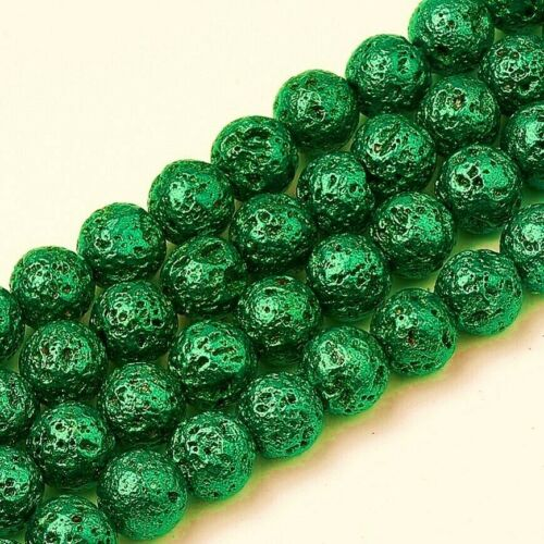 Lava+Beads+8mm+Green+Plated+Electroplated+x+46+Pieces+