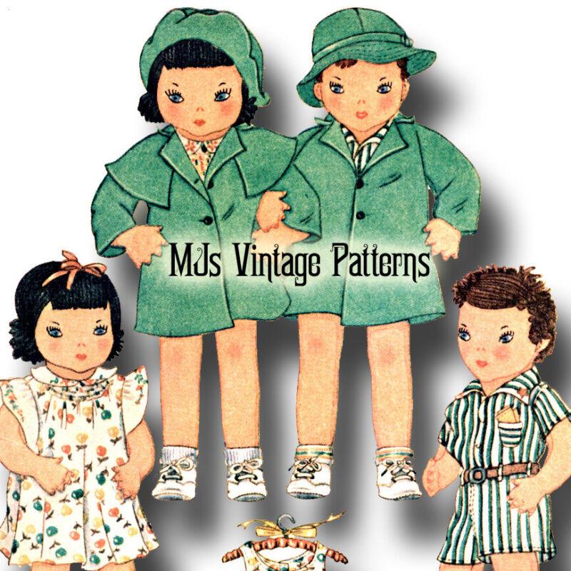 "Vintage Girl & Boy Dolls Pattern ~ Twin Dolls 25"" tall"