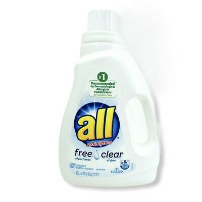 All Free & Clear HE Stain Lift Laundry Soap Detergent Sensitive Skin & Children Free & Clear Laundry