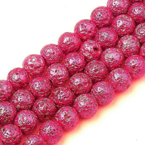 Lava+Beads+Pink+Plated+Electroplated+1+Strand+of+Approx+46+Pieces+-+8mm