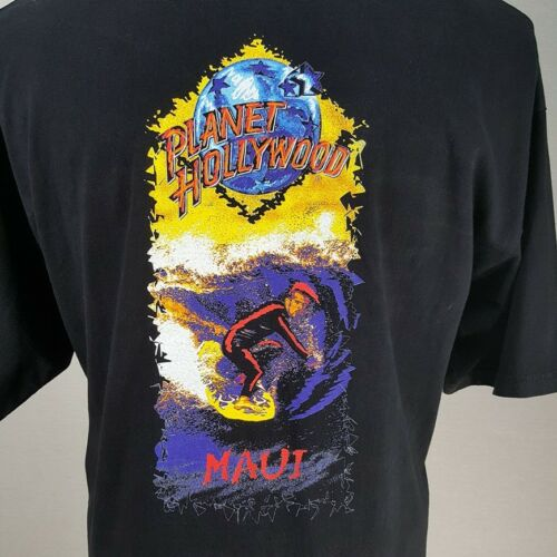 Vintage 90s Planet Hollywood Maui Hawaii T Shirt Sz XL Surf USA RARE 2 Sided Tee