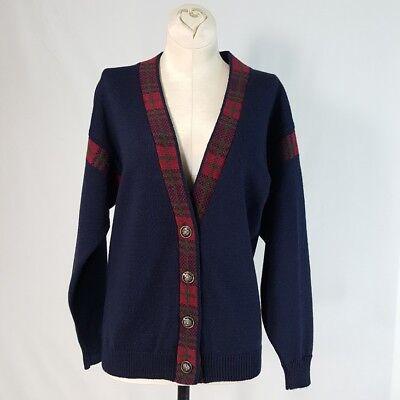 (Vintage Pendleton Wool Cardigan Sweater Petite M Classic Blue Plaid Trim Accents)