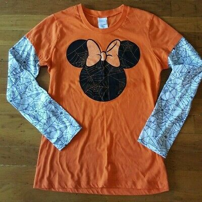 Disney Halloween Minnie Mouse Spider Web Long Sleeve Shirt Juniors (11-13) Large