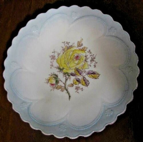 """Porcelain 8"""" Plate Hand Painted With Yellow Roses & Raised Scalloped Edge ##"""