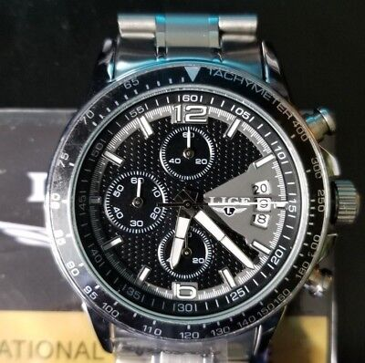 LIGE Men Chronograph Watch Luxury Quartz silver Water resistant