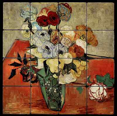 16x16 Roses Backsplash Mural Tumbled Marble Tiles Kitchen Ideas Van Gogh