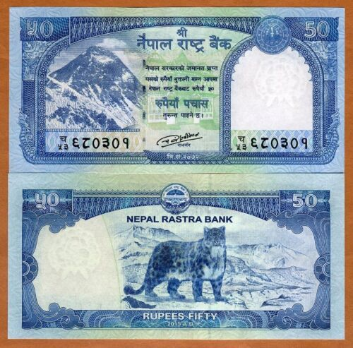 Nepal, 50 Rupees, 2015 (2016), P-New, UNC Everest, Snow Leopard
