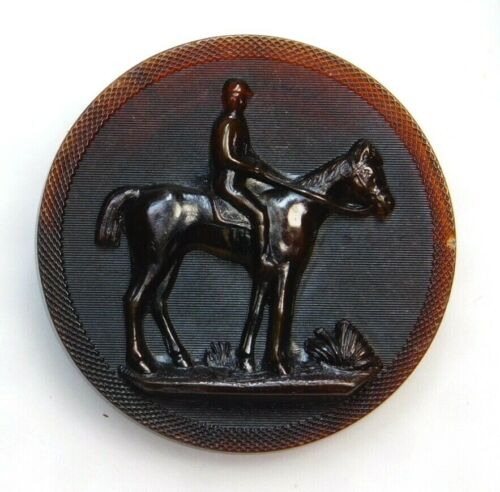 Antique Button Rare LARGE French Molded HORN A Man on Horseback Paris Back