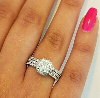 14K White Gold Halo Diamond Solitaire Engagement Ring Set 1.5 CT Round Cut