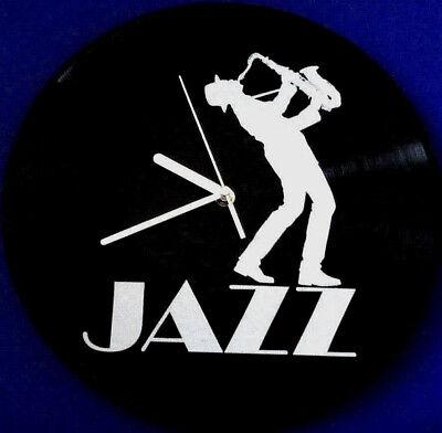 Vinyl Schallplatten-Uhr,LP Wanduhr, Deko,Retro,Vintage,Jazz, Saxophon Spieler gebraucht kaufen  Paderborn