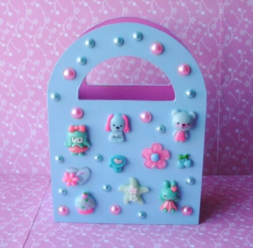 Handmade Pink & Blue Cute Girly Wooden Gift Bag Remote Make Up Caddy Holder