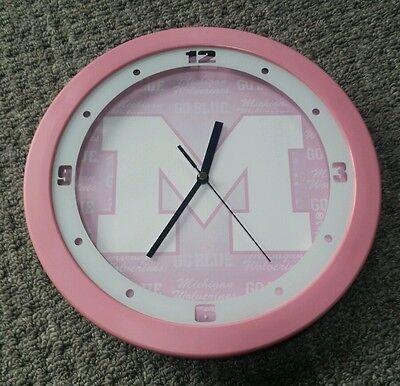 NCAA Michigan Wolverines Pink Wall Clock  ()