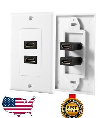 2-Port Dual HDMI Wall Face Plate Panel Cover Outlet 1080P 4K ARC HDR -