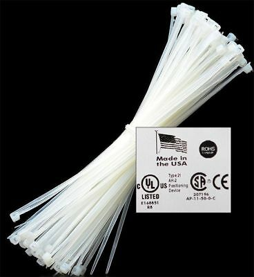 8 To 18 50-1000 Usa Industrial White Wire Cable Zip Ties Nylon Tie Wraps