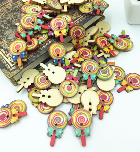 Lovely Girl Wooden Buttons Fit Sewing and Scrapbook craft Decorative 2 Hole 50mm