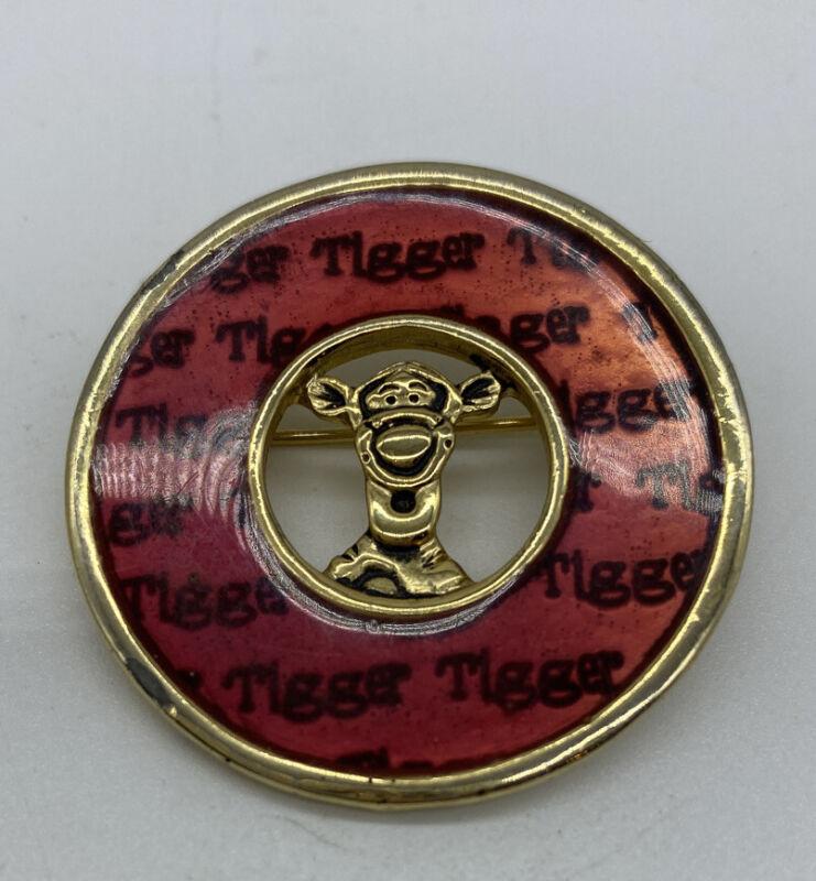 Tigger Pin Disney Winnie The Pooh Enamel Round Gold RARE