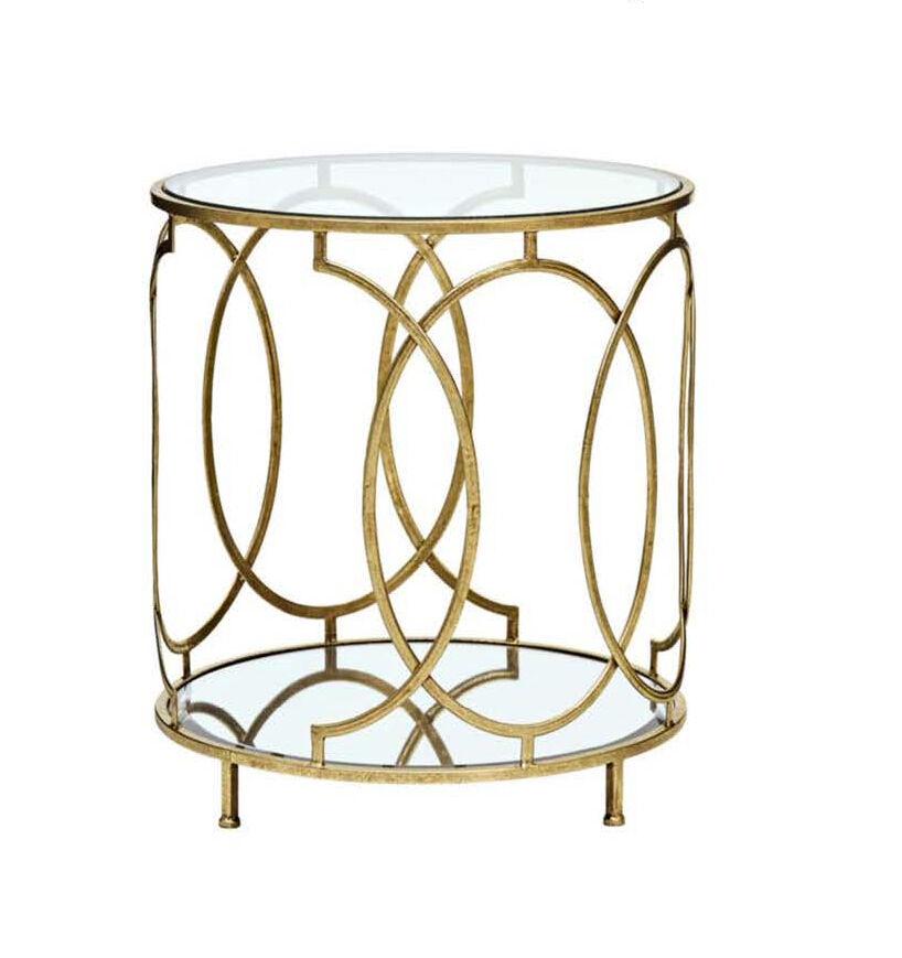 Eckiger Tisch Goldfarben Spiegelglasablage Beistelltisch Wohnzimmertisch 5-20289