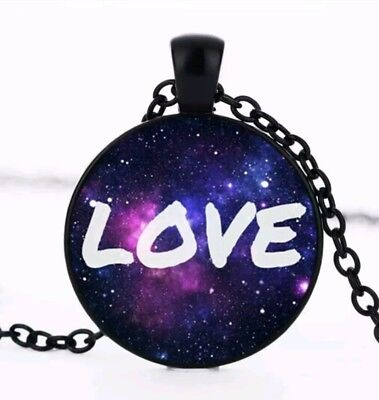 Love,  Space, Eternal Love Cabochon Glass Pendant Black Tone Chain necklace New
