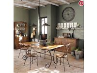Solid sheesham wood and wrought iron dining table W 180cm with 6 matching wrought iron chairs