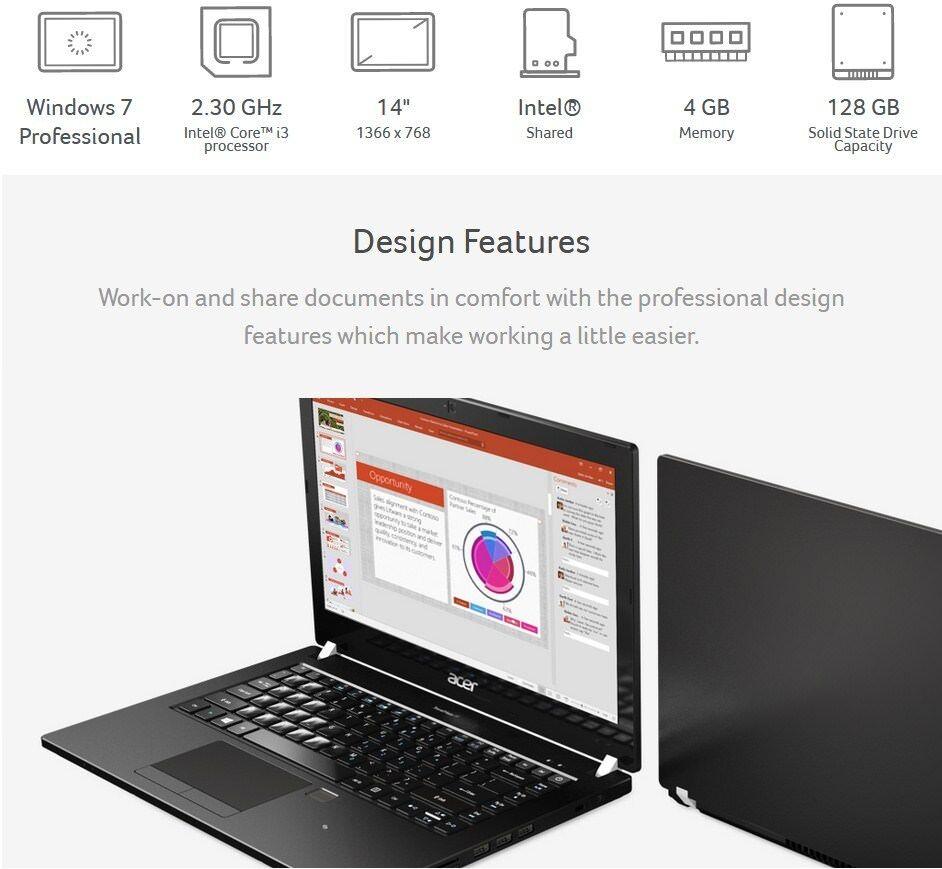 "Acer Travelmate 14"" HD LCD/ i3-6100U  2.30 GHz /4MB Memory /128 GB SSD/ Win 7"
