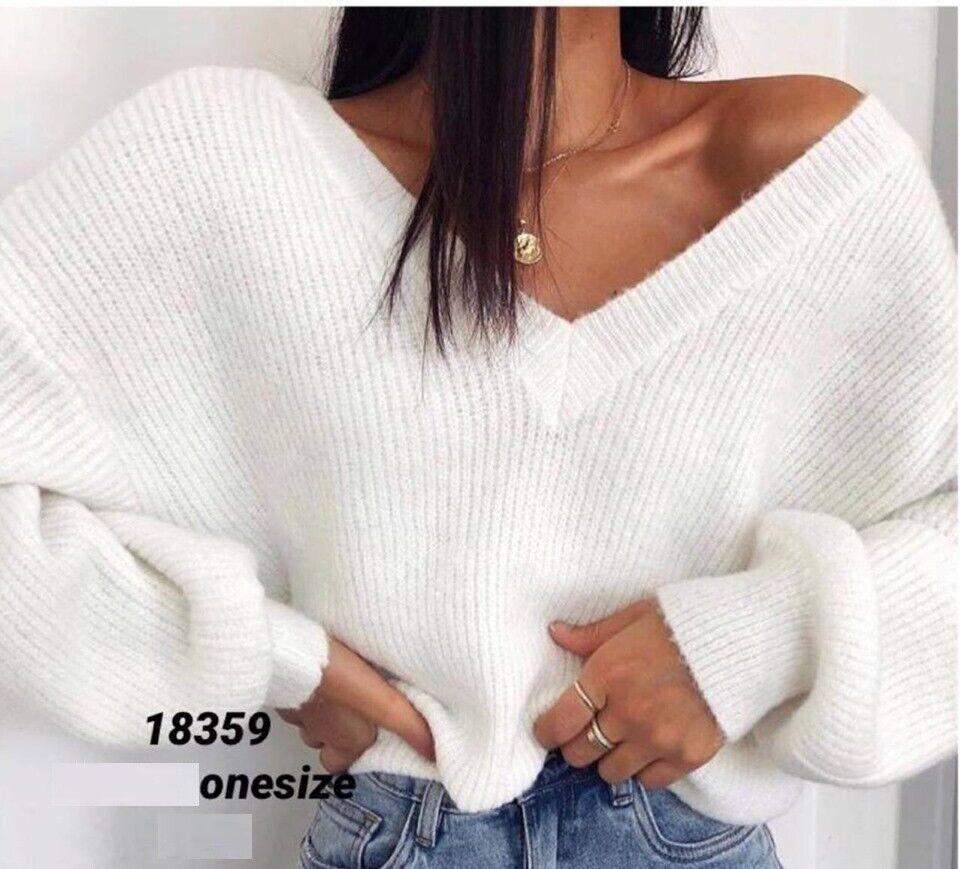 Damen offshoulder V-Ausschnitt Pullover in weiß Einheitsgrösse