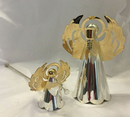 Vintage Royal Gallery Angel Candle Holder and Snuffer Set Silver Gold Tone 1999