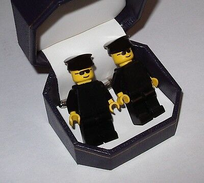 CHAUFFEUR OR BODYGUARD LEGO CUFFLINKS BEAUTIFUL JEWELRY BOX- WEDDING BEST MAN