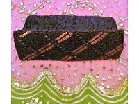 NEW BETH JORDAN Designer Brown Bronze Gold Sequin Bead Luxury Handbag Small Clutch Bag Purse PROM