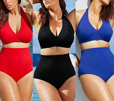 Plus Size S-6XL Swimwear High Waist bikini Set Swim 2 piece Halter swimsuit (2 Piece Plus Size Suit)
