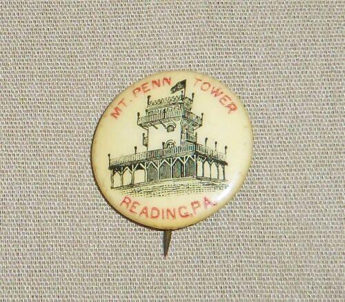 Vintage Mount Penn Tower & Hotel Pin Reading PA Lapel Building Gravity Railroad
