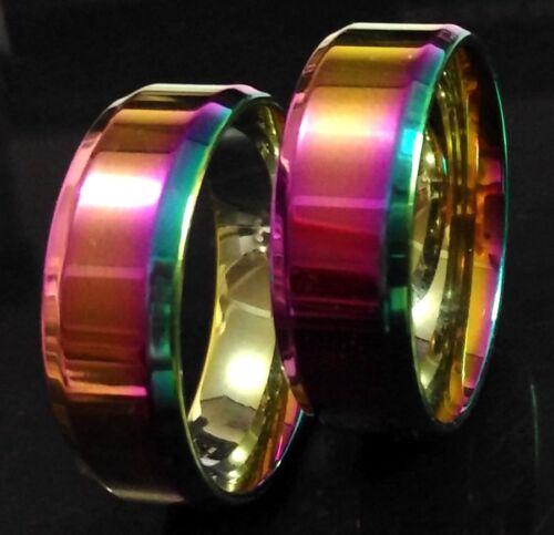 Job lots 50 Top Rainbow Color Men Women Stainless Steel 8mm Band Wedding Rings