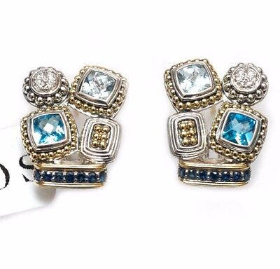 New LAGOS Caviar Two Tone Sterling Silver &18K Gold Blue Topaz Earrings NWT